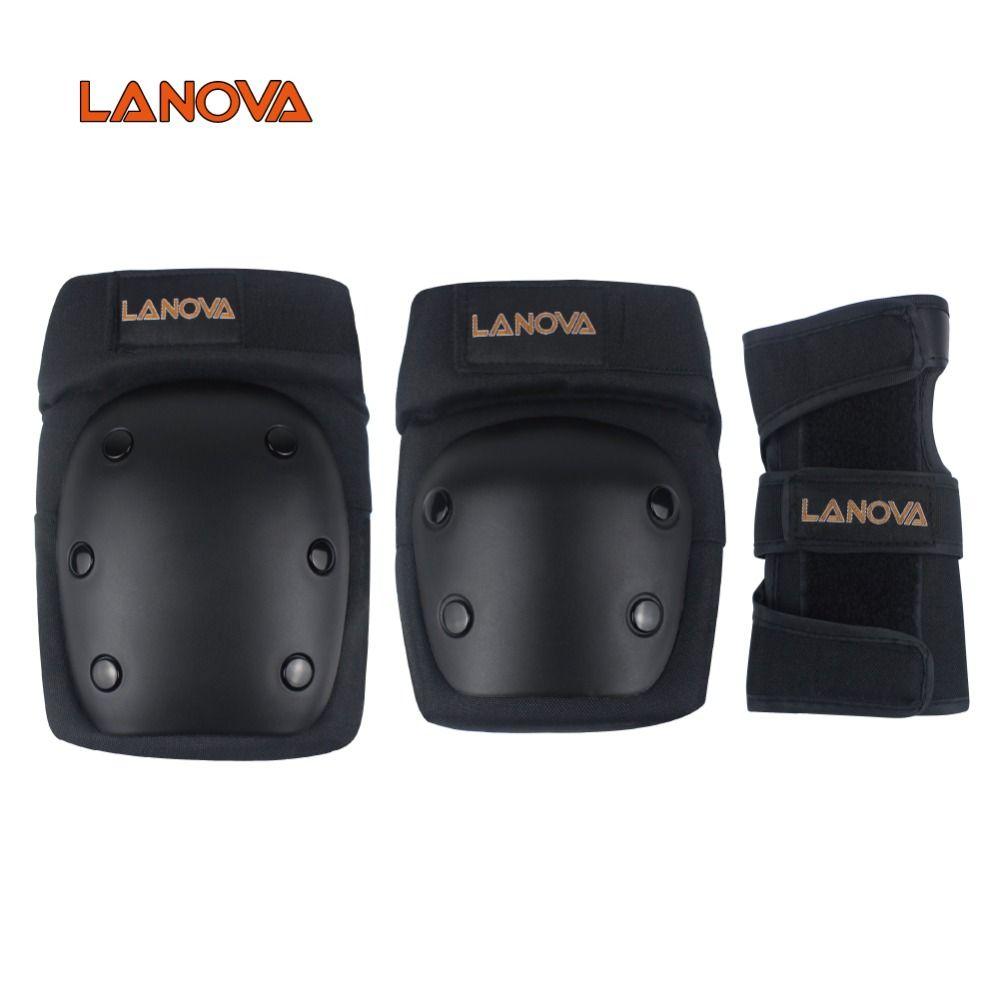 LANOVA 6 pcs/ensemble de Protection patins Ensemble Genouillères Coudières Poignet Protecteur Protection pour Scooter Vélo Rouleau De Patinage 4 Taille