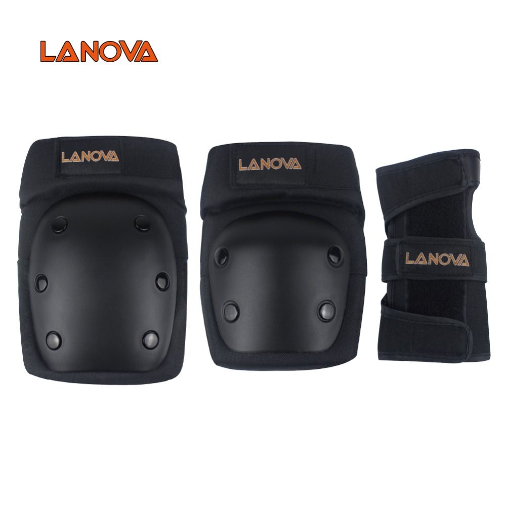 LANOVA 6pcs/Set <font><b>protective</b></font> patins Set Knee Pads Elbow Pads Wrist Protector <font><b>Protection</b></font> for Scooter Cycling Roller Skating 4 Size