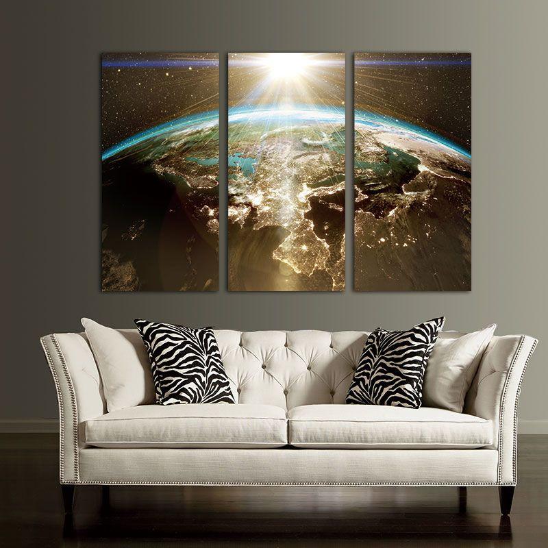 Toile peinture mur Art photo impression modulaire sur la carte du monde pour salon classique Europe Type aquarelle décoration pas de cadre
