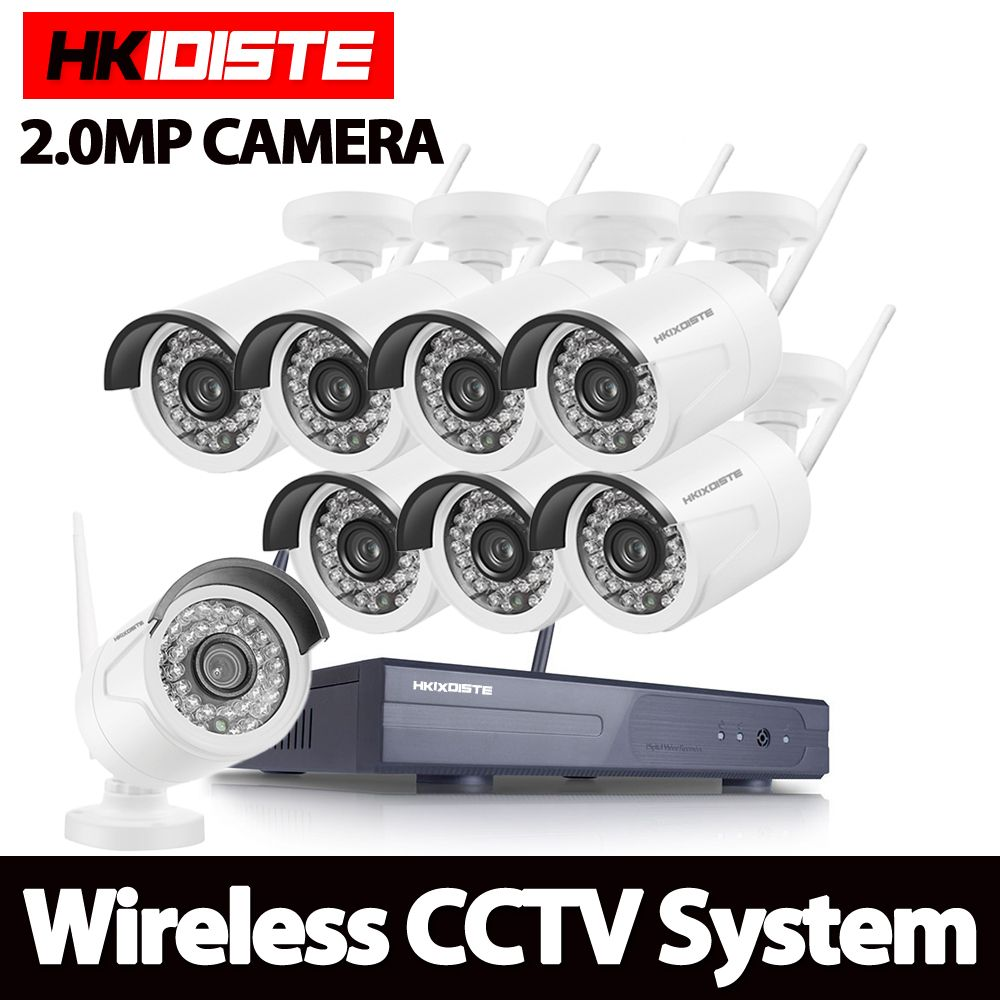 HD 2MP CCTV System 8ch 1080P Wireless NVR kit Outdoor IR Night Vision IP Wifi Camera Security System Surveillance HKIXDISTE