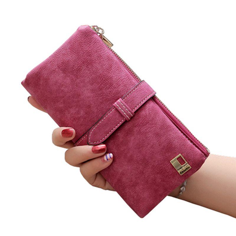 2017 Solid Drawstring Nubuck Leather Zipper Long Women Wallet Phone Bag Luxury Brand Wallets Designer Purse Card Holder Clutch