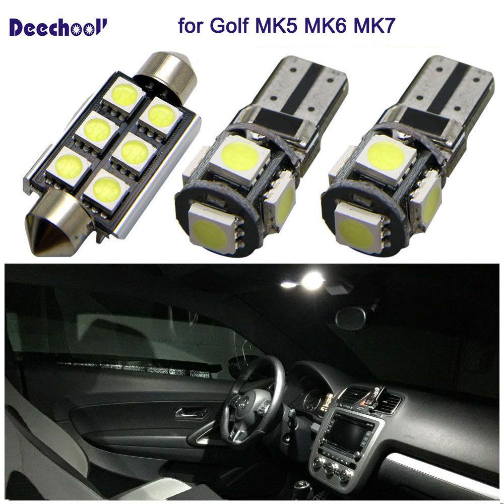 12pcs Error Free Car LED Bulb for VW Golf MK5 MK6 MK7 04+,Canbus Auto Interior Light for Volkswagen Golf 5 6 7 2004+ Dome light