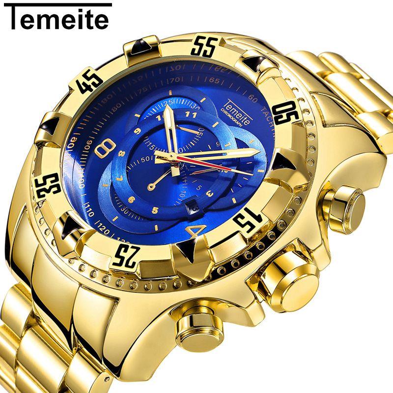 TEMEITE 2017 Men's Sports Quartz Watches Analog Date Men Gold Watches Stainless Steel Wristwatches Waterproof Relogio Masculino