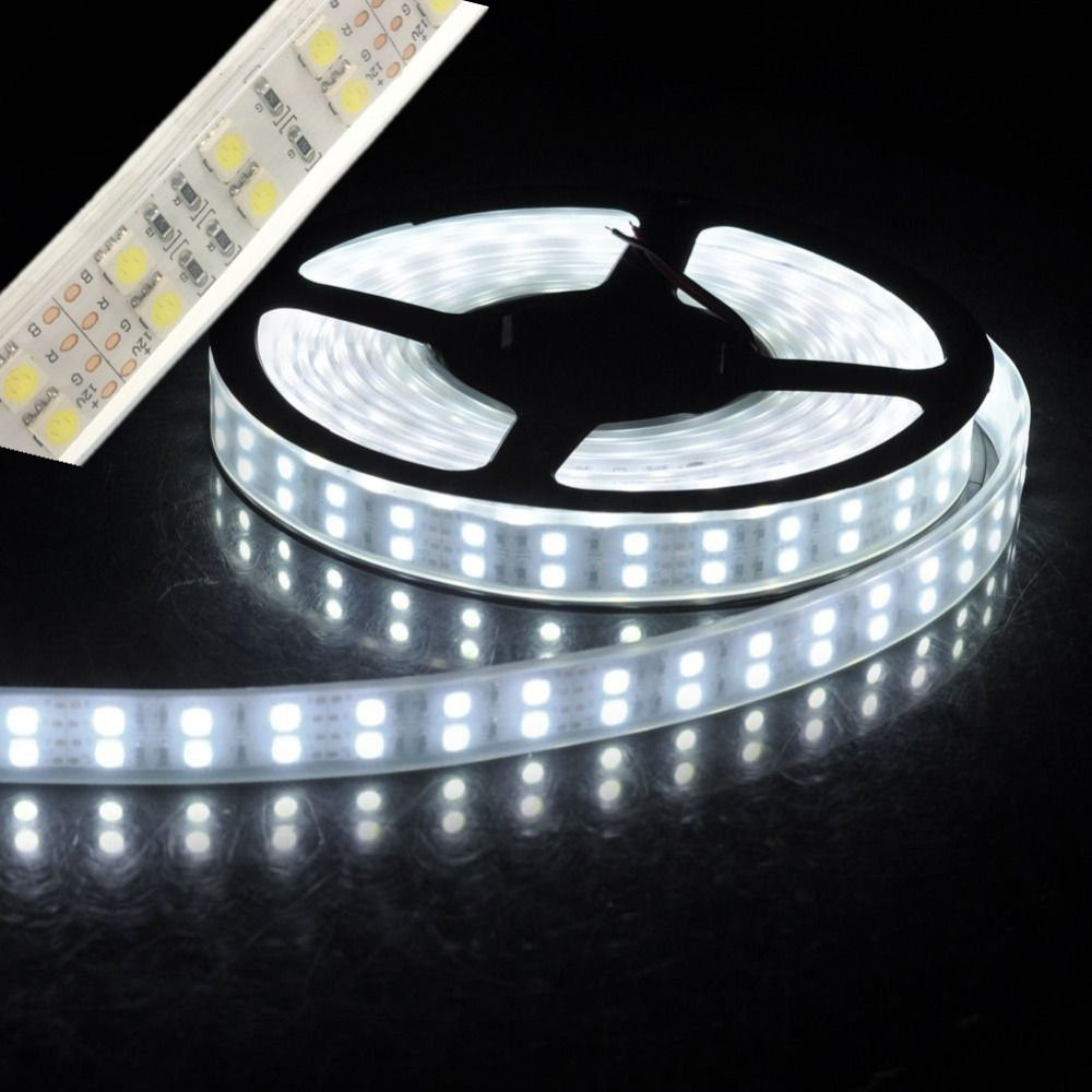 Bande led lumière 5050 silicone tube corde ruban étanche ip67 double rangée 600led 5 m dc 12 V 3000 K 6500 k blanc chaud blanc RGB bande
