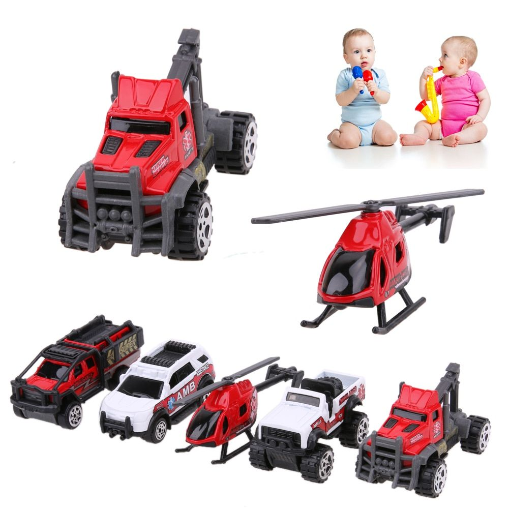 5pcs 1:64 Scale Ambulance Alloy Car Model Kids Children Car Toy Gift Car Toy For Boys Christmas Gift