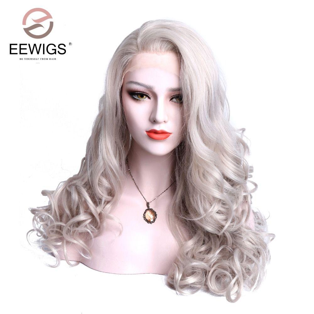 Химическое спереди Кружево парик естественная волна Серый Белый Цвет Бесплатный Прощание Glueless Волокно волос для перетащите Queen