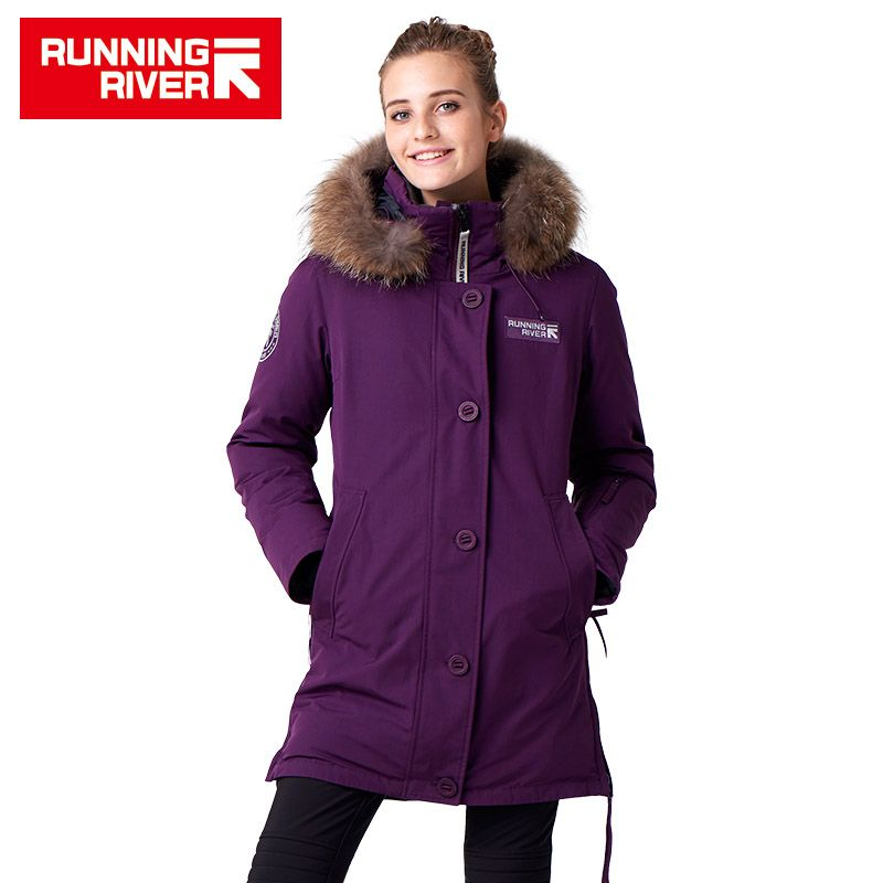 RUNNING RIVER Brand Women Mid-thigh Winter Hiking & Camping Down Jackets 10Colors 5 Sizes Hooded Outdoor Sports Coat #D7143H