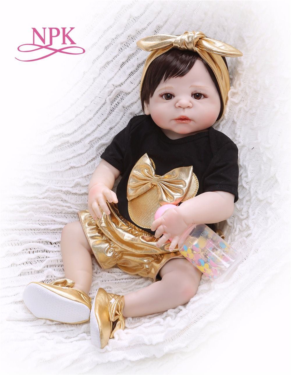 NPK New Arrival 55 cm Silicone Full Body Reborn Doll Real Life golden Princess Baby Doll For Xmas Gift Kid