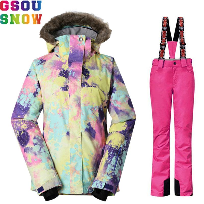 GSOU SNOW Brand Winter Ski Suit Women Ski Jacket Pants Waterproof Snowboard Set Jacket Pants Female Outdoor Skiing Snow Clothes