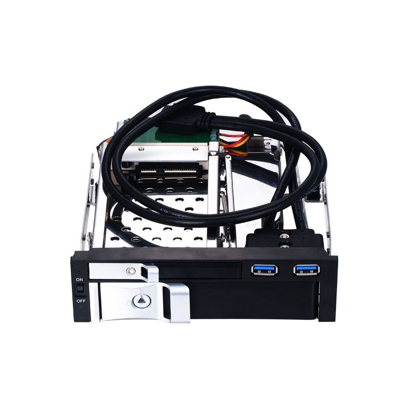 5.25 inch SATA internal hdd mobile rack with two USB3.0 port with hot-swap enclosure for 5.25 optical pc bay trayless