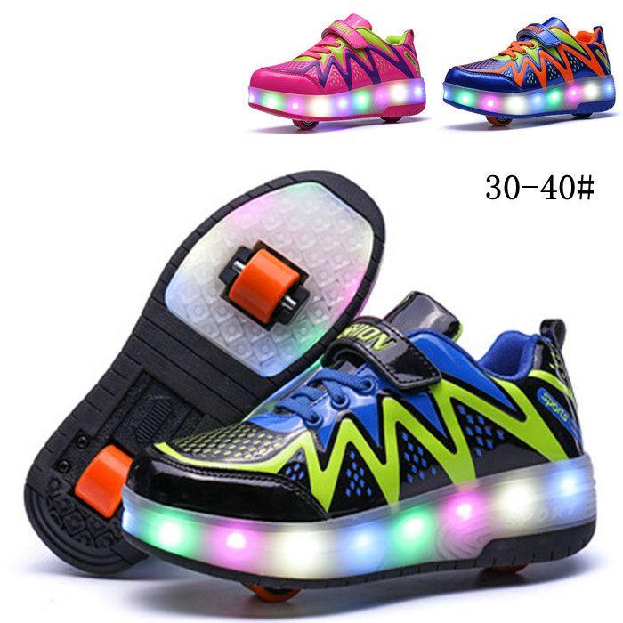Kinder Wanderschuhe mit Einem/doppelräder Jungen und Mädchen Unsichtbar Automatische Riemenscheibe Roller Skate Flashing LED Studenten Schuhe