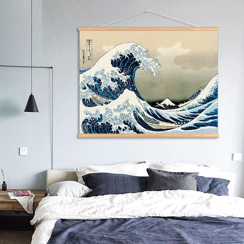 Japon la grande vague de Kanagawa défilement peinture Art décor à la maison toile peinture pour salon mur photo affiche cadre d'impression