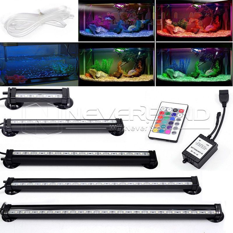 EU/US/AU Plug 12-46CM 5050 RGB LED <font><b>Aquarium</b></font> Light Fish Tank Bar light Submersible Light Air Bubble Lamp With Remote
