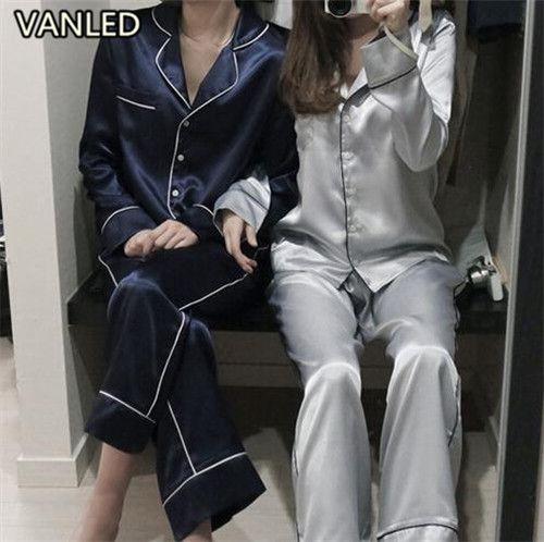 New 2017 Hot Pajama Set V-Neck Long Sleeve Fashion Shirts Style Tops + Pants Women Suit