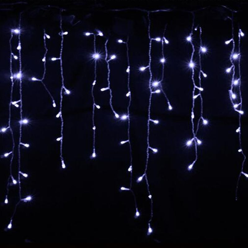 2 м 104 лампы фея под занавес гирлянда Белый Рождественские огни украшение Сосулька Праздник светильники для гостиной с CE