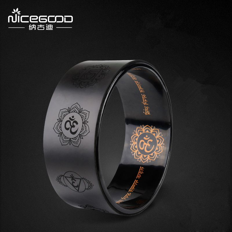 Classical Black Yoga Wheel Professional PU Yoga Circle Gym Workout Back Training Tool Pliates Fitness Bodybuilding Yoga Ring