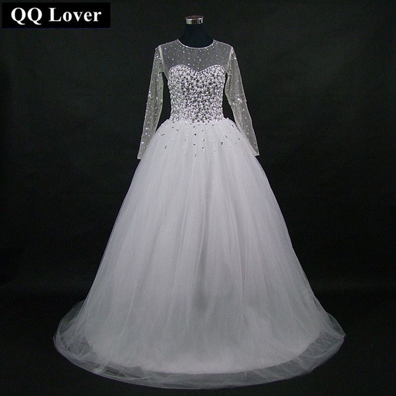 QQ Lover 2018 New Backless Wedding Dress Custom-Made Plus Size Vestido De Noiva Wedding Gown