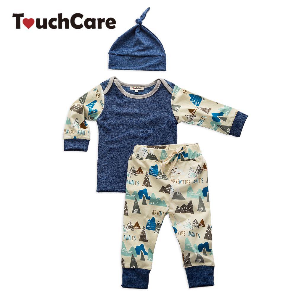 Touchcare 3 шт./компл. Одежда для маленьких девочек и мальчиков Hills принтом спортивный комплект одежды для новорожденных Топы Корректирующие + Бр...