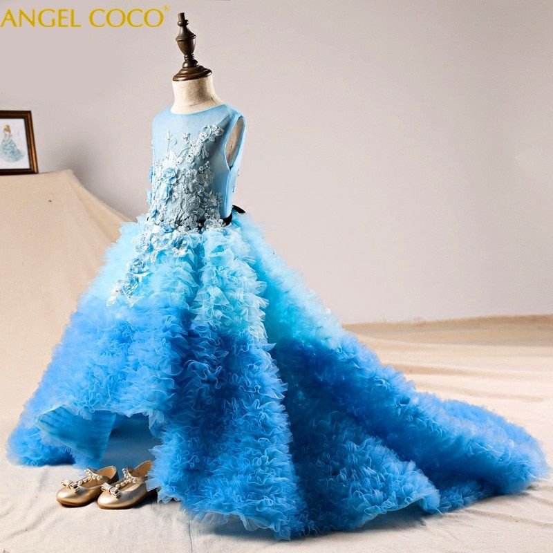 Children Evening Gown Blue Trailing Sleeveless Crew Neck Dress Girl Piano Performance New Year Wedding Birthday Party Dress 2018