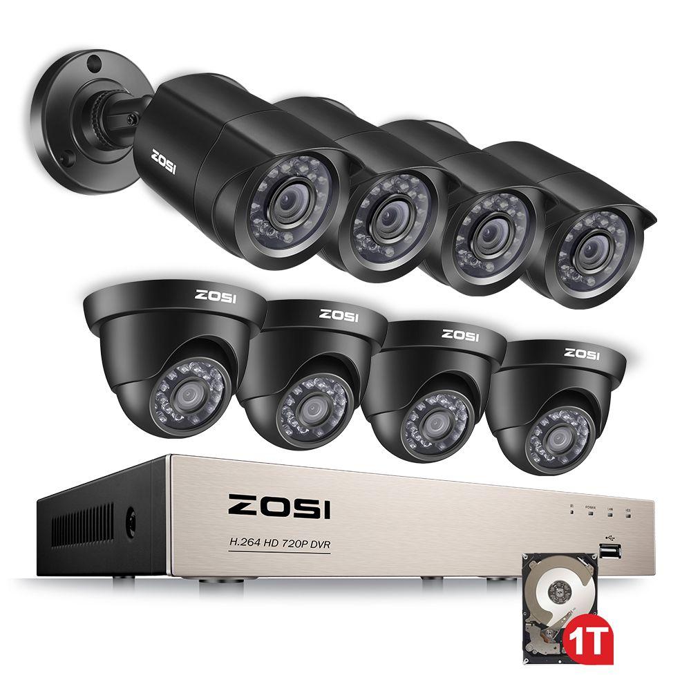 ZOSI 8CH 1080N TVI H.264 + 1 TB 8CH DVR 8 720 P Freien Kugel/Dome CCTV Video Hause sicherheit Kamera System Überwachung Kits