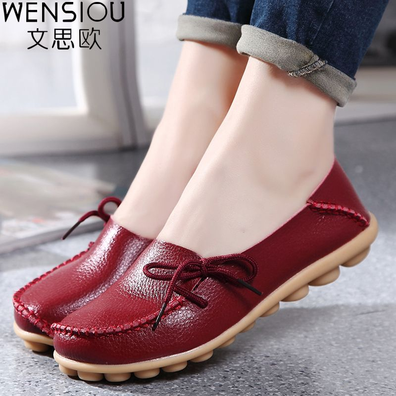 Large size leather Women shoes flats mother shoes ladies lace-up fashion casual shoes comfortable breathable women flats SDC179