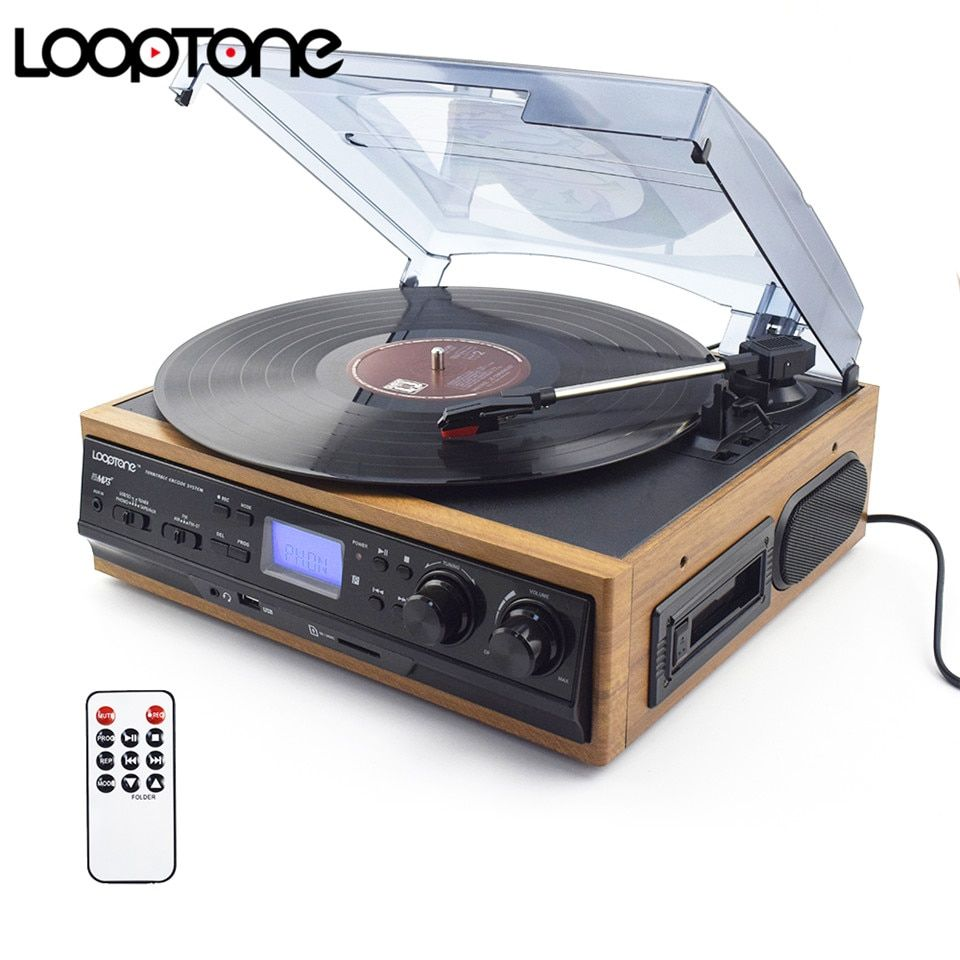 LoopTone Vinyl LP Record Turntables Player Cassette Player AM FM Radio USB/SD Player W/ Remote Control Built-in Speaker Aux-in