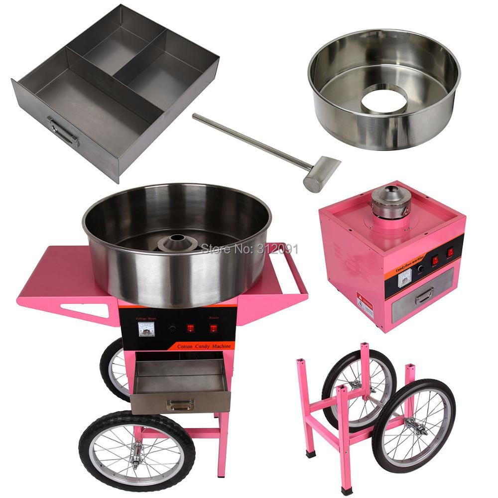 (Ship from EU) 20 inch Stainless Steel Pan 1100W Cotton Candy Machine Candy Floss Maker Fairy Floss Maker with Wheel Cart -LB05
