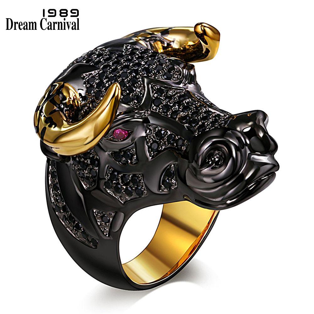 DreamCarnival 1989 Chunky Black Bull with Golden Color Horns Punk Hip Hop CZ Big Ring for Unisex Men Women Street Fashion SR2314