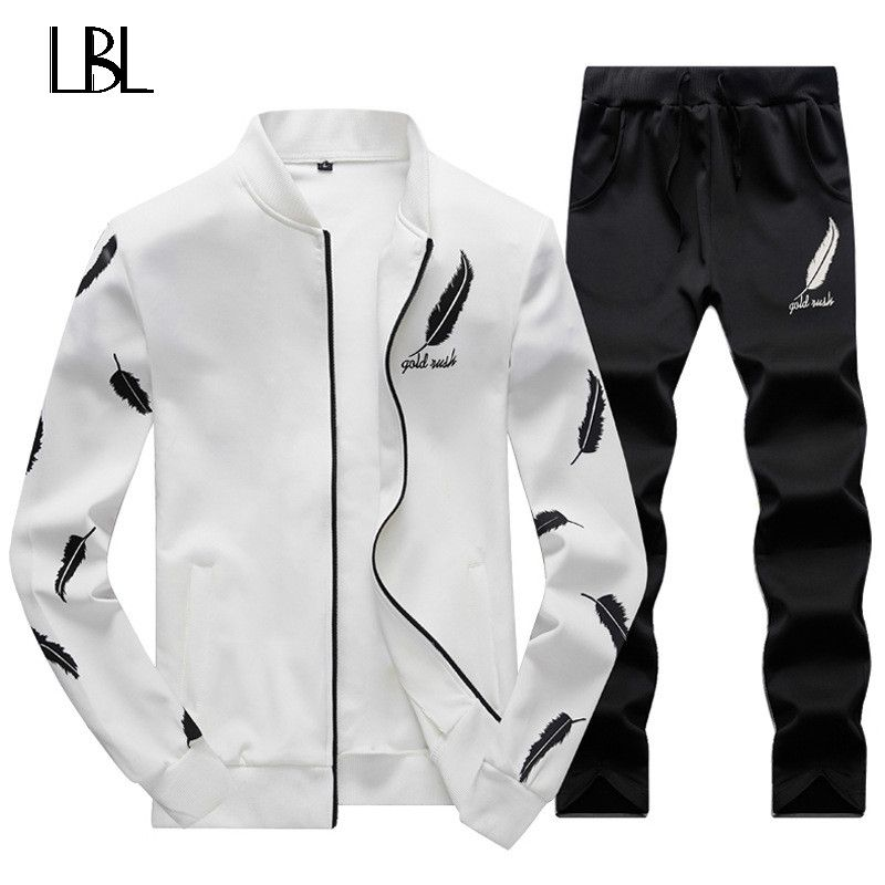 Sweatsuit Men Clothing Tracksuit Set Crossfit 2018 Men's Set Spring Summer Men Tracksuit Sportswear 2 Piece Set Suit Jacket+Pant