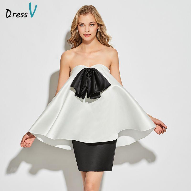 Dressv white&black sweetheart neck cocktail sleeveless a line knee length wedding party formal dress satin cocktail dresses