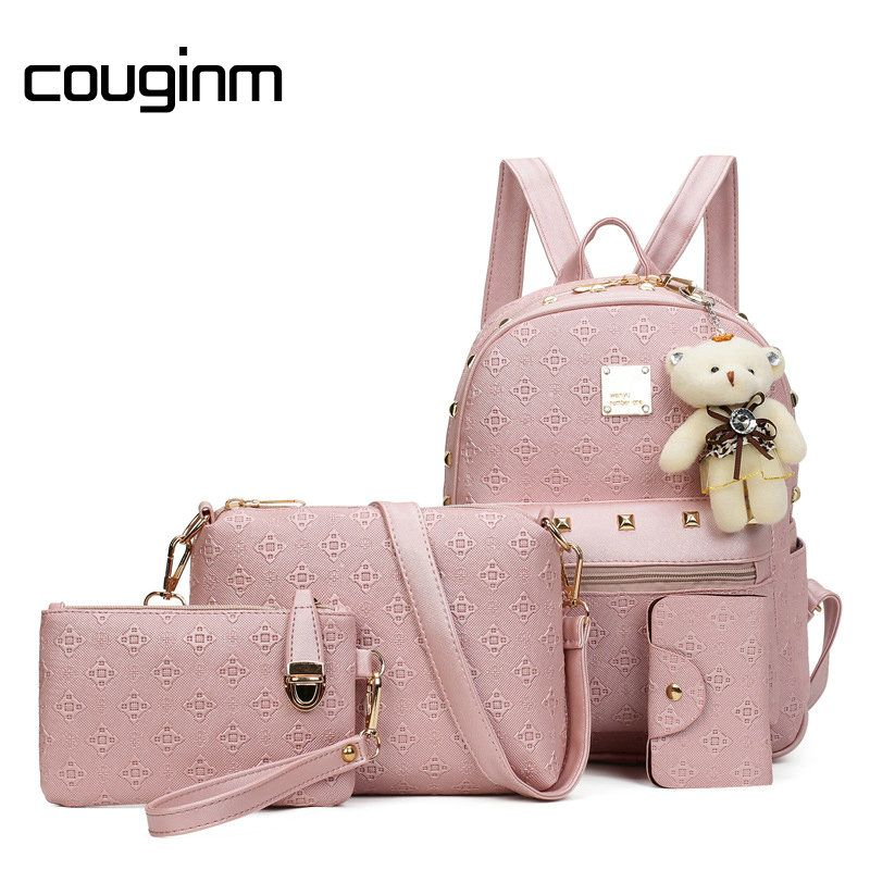 COUGINM Fashion Composite Bag Pu Leather Backpack Women Cute Bear Set Shoulder Bags School Backpacks For Teenage Girls Cardbags