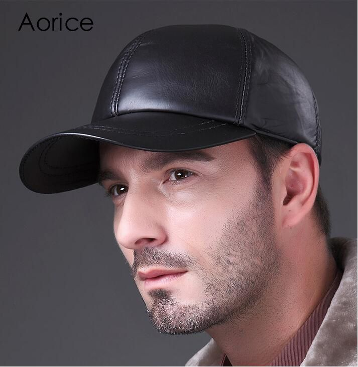 Aréglisse 2019 nouveau cuir véritable réglable solide Deluxe casquette de Baseball marque hommes noir Golf Sport chapeaux/casquettes HL008