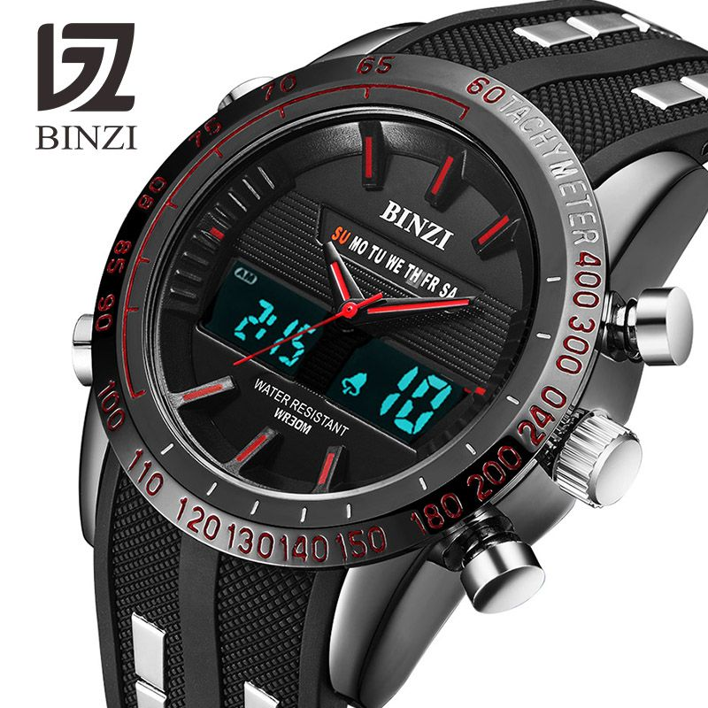 BINZI Luxury Watches Men Brand Sports Watches Led Digital Waterproof Watch Military Men's Quartz Wrist Watch Relogio Masculino