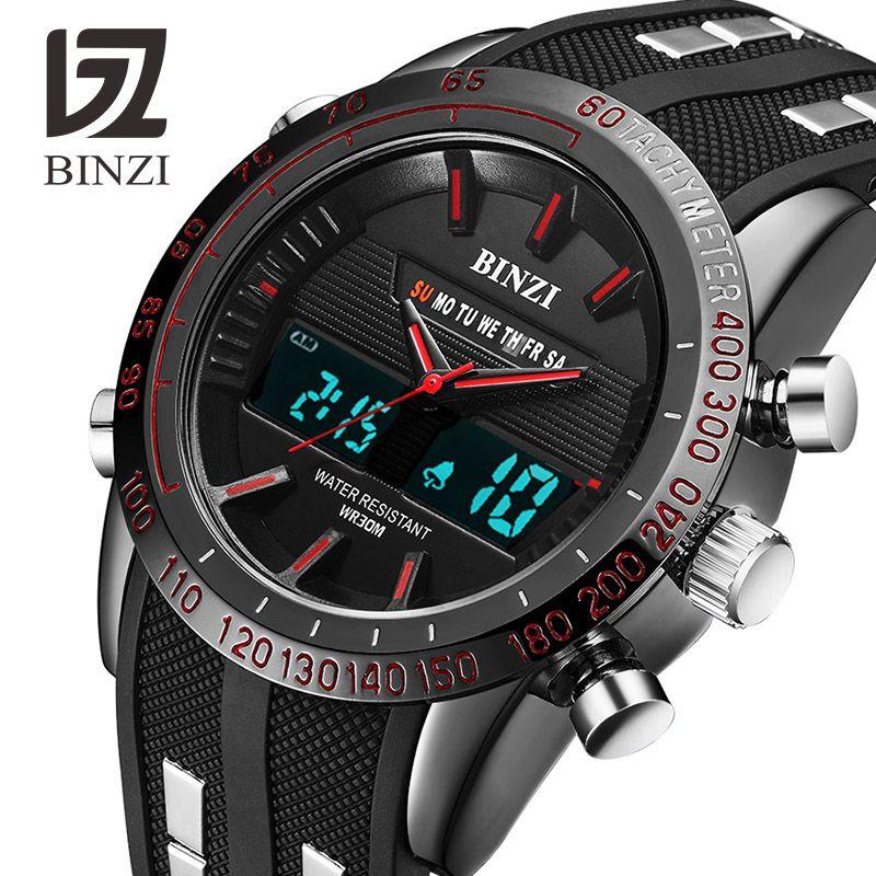 New BINZI Brand Watch Mens Date Day LED Display Luxury Sport Watches Digital Military Men's Quartz Wrist Watch Relogio Masculino