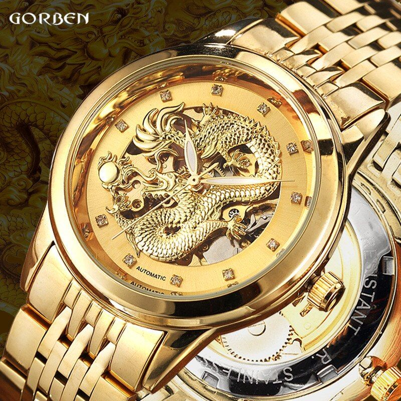 Luxury Dragon Skeleton Automatic <font><b>Mechanical</b></font> Watches For Men Wrist Watch Stainless Steel Strap Gold Clock Waterproof Mens relogio