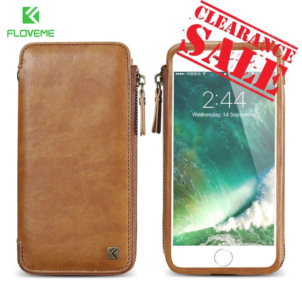 FLOVEME Mappenkasten für iPhone 6 6 S 7 Plus Leder Telefon Fall für iPhone 6 6 S 7 Mode PU Hand Handytasche Fall Karte Slot