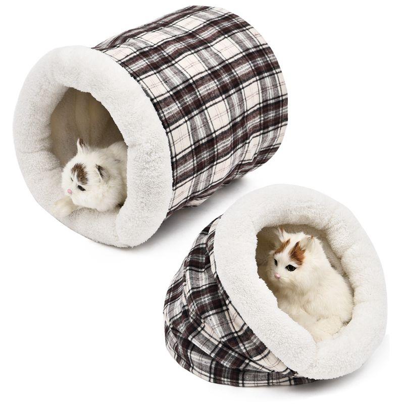 Lit pour animaux de compagnie chien chat lit créatif treillis modèle hiver/automne coton Pet chat dormir 2 côté utilisé sac Pet House pour chat chaton