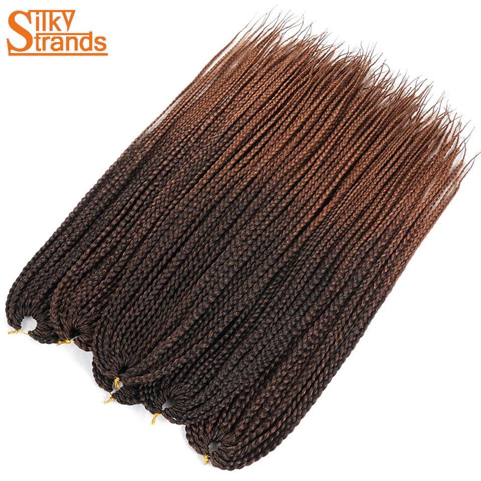 Silky Strands Crochet Braids Medium Box Braid Hair Extensions Ombre Kanekalon Synthetic Braiding Hair Crotchet  Hair Bulk