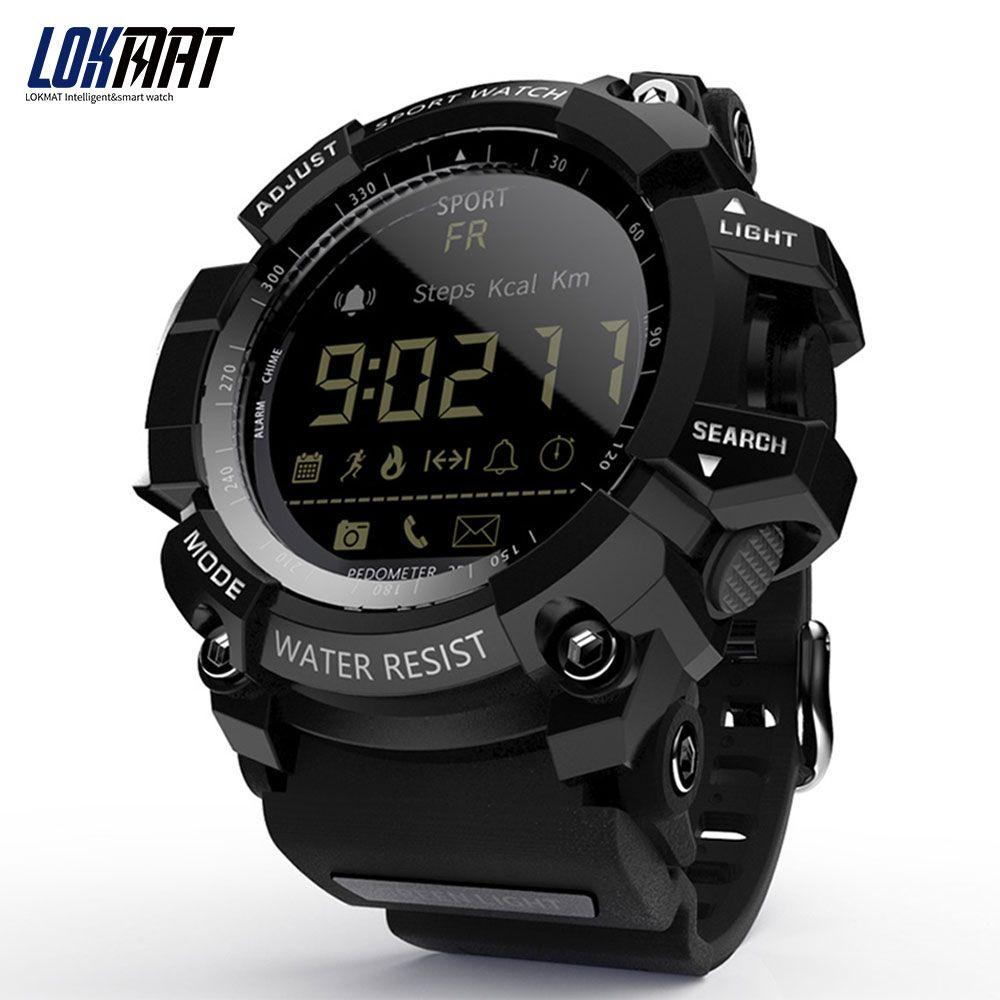 LOKMAT montre intelligente bluetooth numérique hommes horloge podomètre smartwatch étanche IP67 Sport pour ios Android téléphone