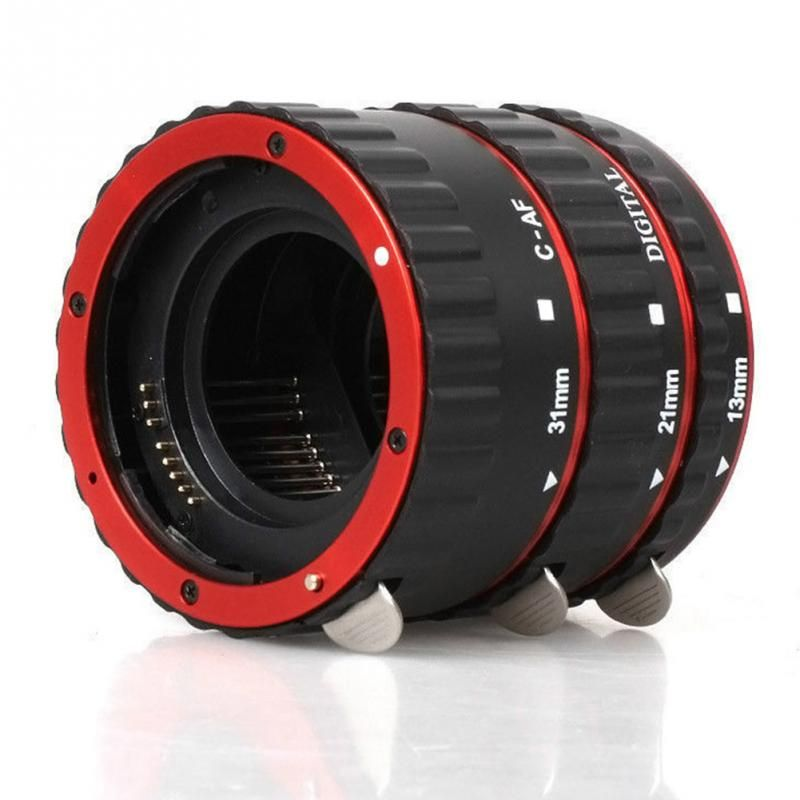 Red Metal Mount Auto Focus AF Macro Extension Tube/Ring for Canon EF-S Lens T5i T4i T3i T2i 100D 60D 70D 550D 600D 6D 7D
