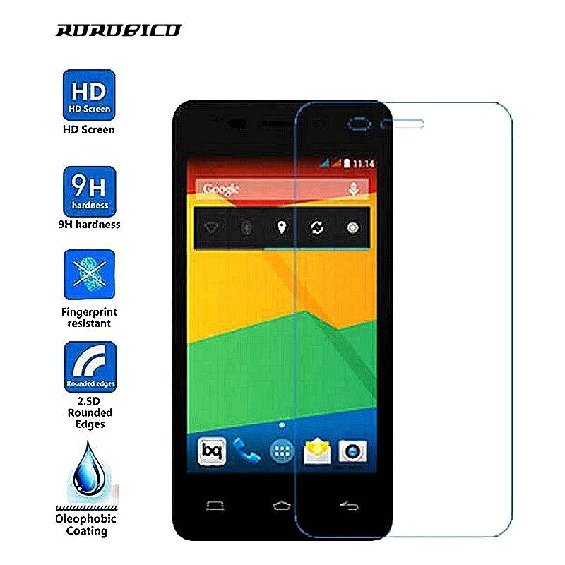 ROROBICO 2.5D 9H Explosion-Proof 2.5D Protective Front Film Screen Protector For BQ Aquaris E4 Tempered glass film For BQ E4