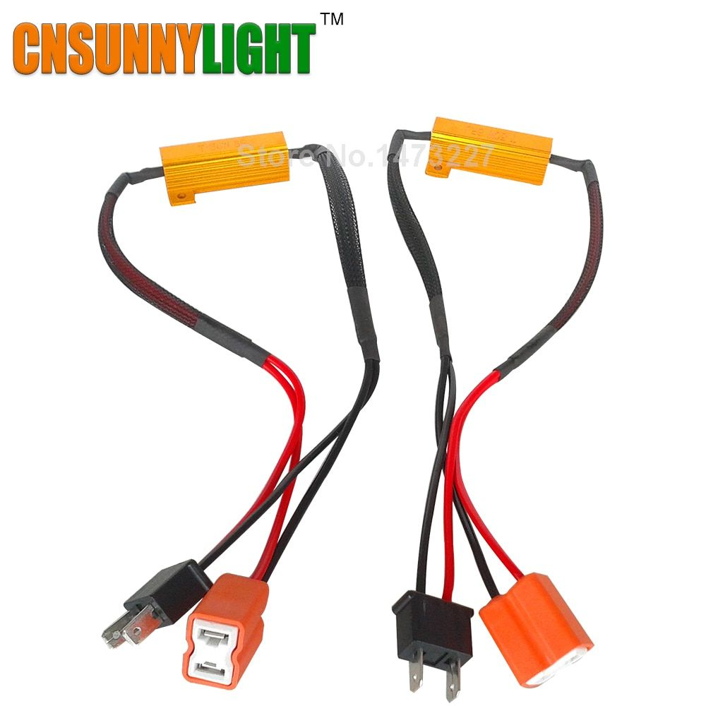 CNSUNNYLIGHT LED Bulb Decoder Resistor Canbus Wire Harness Adapter 50w 6/8ohm 9-14V for H4 H7 H8 H9 H11 HB3 Car Headlights