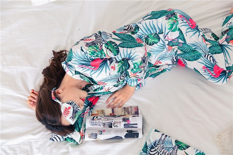 2017 Tainy's Gift Women Floral Silk Full Turn-down Collar Autumn Full Length Shirt Pajama Sets With Eyeshade Storage Bag #t358