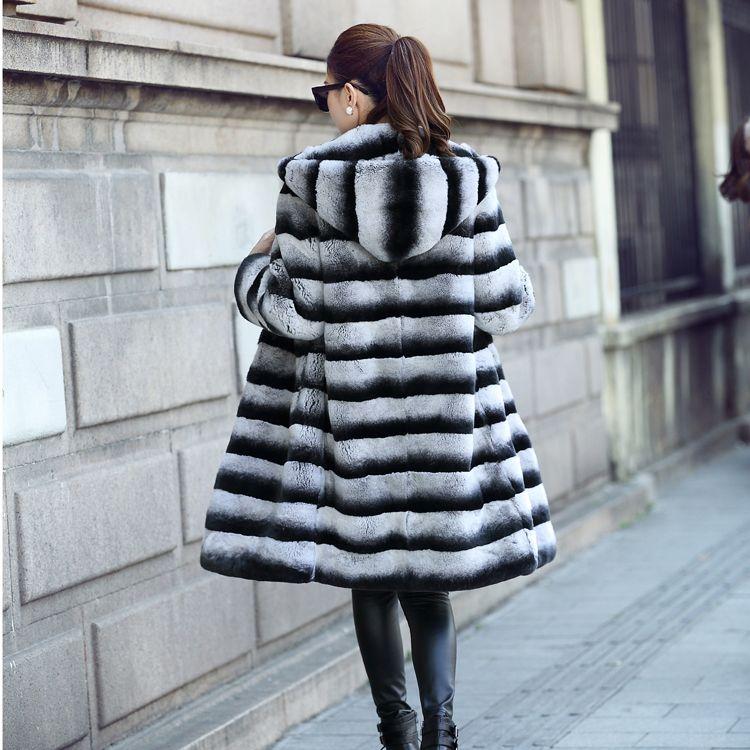 90cm Long Lexus Rex Rabbit Fur/Chinchilla Fur Coat/Grey Striped Outwear/Plus Size Custom Fur Coats Men Fur Coats Jacket Jackets