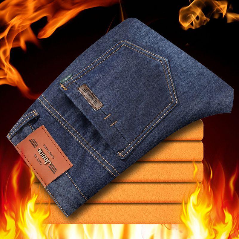 Odinokov Zipper Fly Slim winter Fleece warm jeans   Men's Classic Jeans Straight Full Length Casual Jeans Cargo Pants