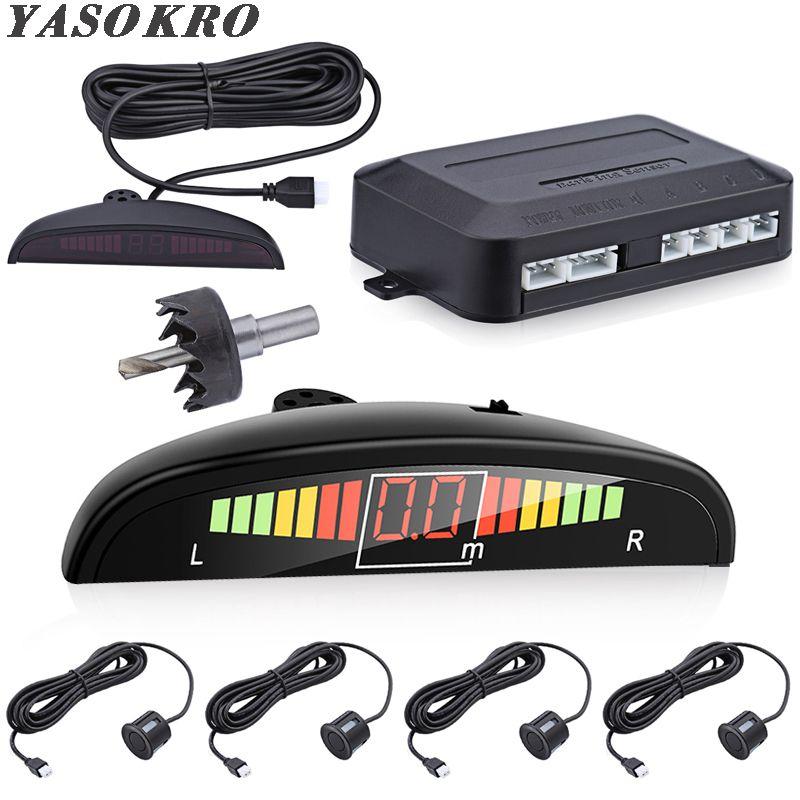 Voiture Parktronic LED Kit de capteur de stationnement rétro-éclairage affichage avec interrupteur sauvegarde inverse Radar moniteur système de détecteur avec 4 capteurs