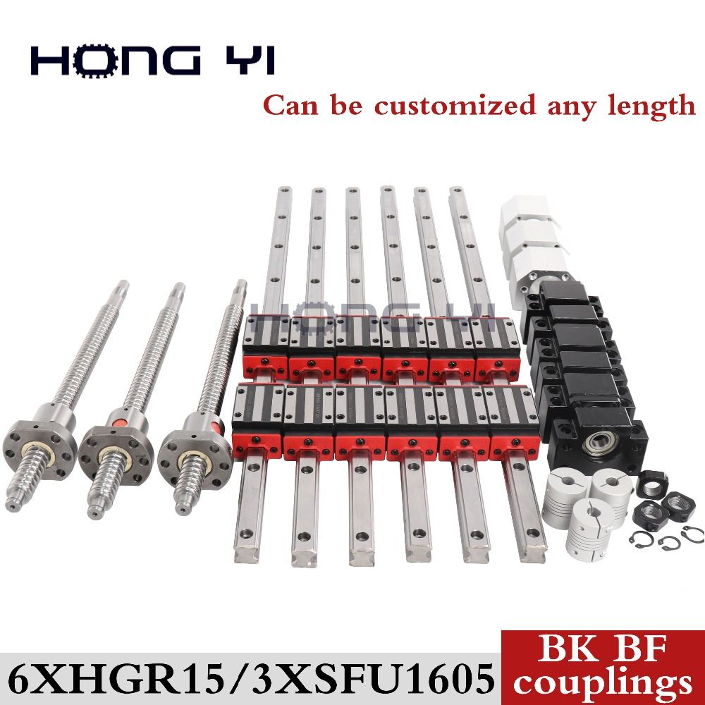 6 sets linear rail HGR15 linear guide any length+ linear bearing blocks+SFU1605 ball screw+3 BK12/BF12+3 DSG16H nut+3 Coupler