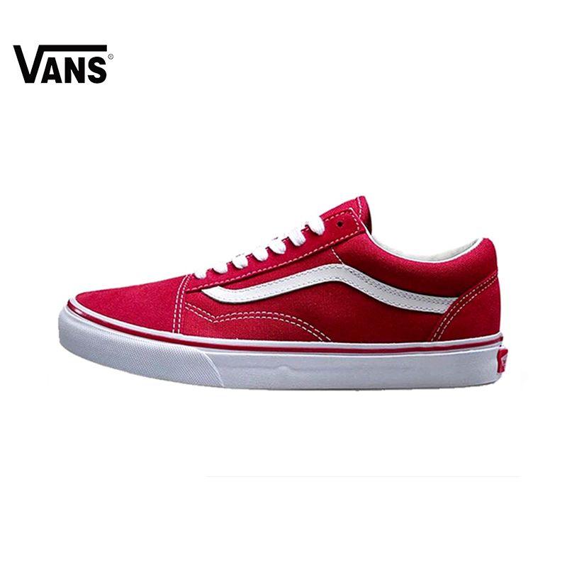 Оригинальные Vans OLD SKOOL красный Цвет с низким берцем Для мужчин и Для женщин Скейтбординг обувь спортивная обувь холст кроссовки Бесплатная д...
