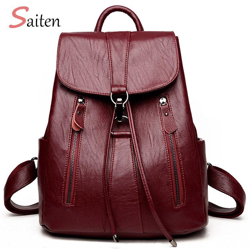 Haute qualité en cuir sac à dos femme nouveauté mode femme sac à dos chaîne sacs grande capacité sac d'école Mochila Feminina