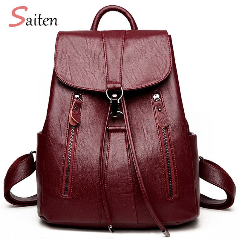 High Quality Leather Backpack Woman New <font><b>Arrival</b></font> Fashion Female Backpack String Bags Large Capacity School Bag Mochila Feminina